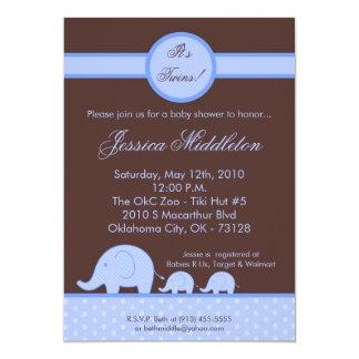 5x7 Boy Twins Mod Elephant Baby Shower Invitation