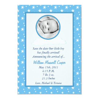 5x7 Boys Circle PHOTO on Cloud Birth Announcement