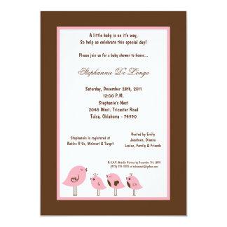 5x7 Brown Bird Baby Shower Card