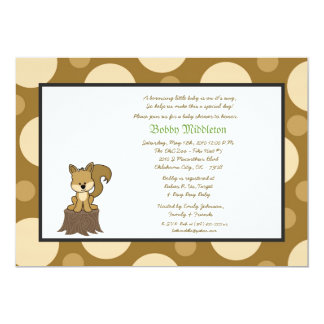 5x7 Brown & Brown Squirell  Baby Shower Invitation