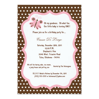 5x7 Brown Butterfly Birthday Party Invite