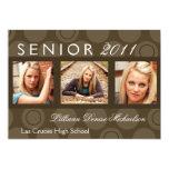 """5x7 Brown Circle Polka Photo Senior Announcement 5"""" X 7"""" Invitation Card"""