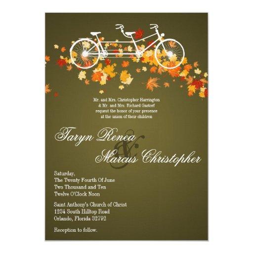 5x7 brown fall double bike wedding invitation zazzle