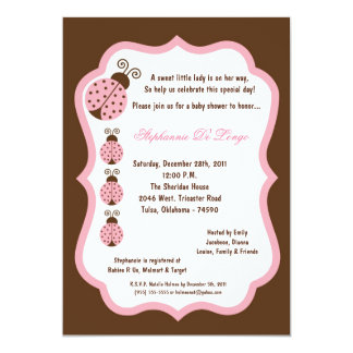 5x7 Brown Lady Bug Baby Shower Card