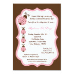 "5x7 Brown Lady Bug Baby Shower 5"" X 7"" Invitation Card"