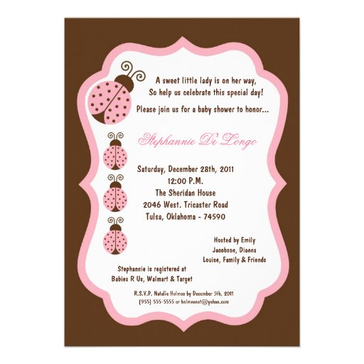5x7 Brown Lady Bug Baby Shower Invite