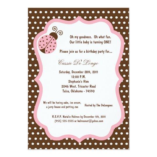 5x7 Brown Lady Bug Birthday Party Invite