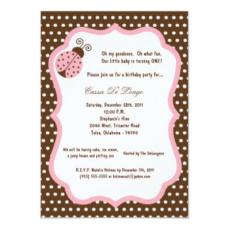 5x7 Brown Lady Bug Birthday Party Invite