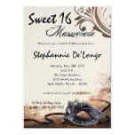 5x7 Brown Masquerade Sweet 16 Birthday Invitation