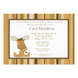 5x7 Brown Woodland Moose Baby Shower Invitation