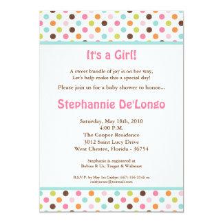 5x7 Bubblegum Polka Dot Pok Baby Shower Invitation