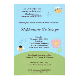 5x7 Bumble Bee Spring Insec Baby Shower Invitation
