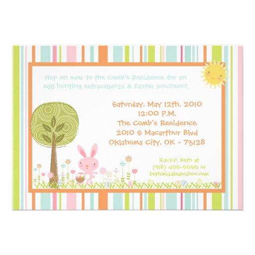 5x7 Bunny Rabbit Egg Hunt Easter Lunch Invitation