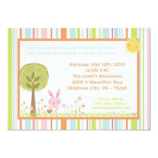 5x7 Bunny Rabbit Egg Hunt Easter Lunch Invitation