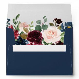 5x7 - Burgundy Blush Blue Floral & Return Address Envelope