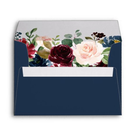 5x7 - Burgundy Blush Blue Floral & Return Address Envelope