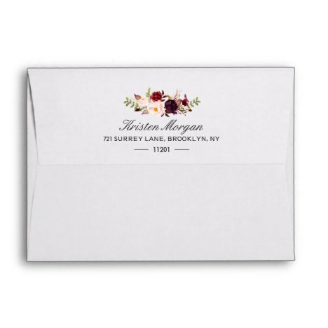 5x7 - Burgundy Blush Chic Floral & Return Address Envelope