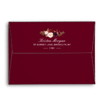 5x7 - Burgundy Marsala Red Floral & Return Address Envelope