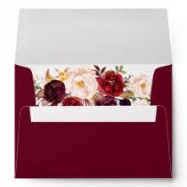 5x7 - Burgundy Marsala Red Floral & Return Address Envelope