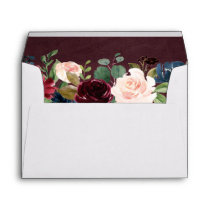 5x7 Burgundy Red Blush Floral with Return Address Envelope