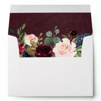 5x7 Burgundy Red Blush Floral with Return Address Envelope