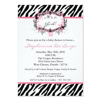 5x7 Butterfly Zebra Print Baby Shower Invitation Custom Invite