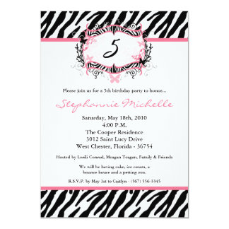 5x7 Butterfly Zebra Print Birthday Part Invitation Custom Invitation