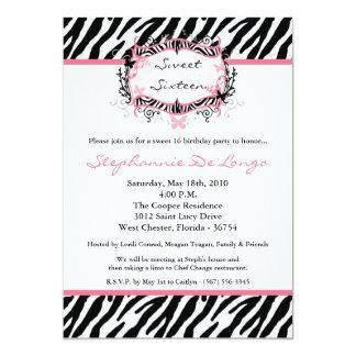 5x7 Butterfly Zebra Print Birthday Part Invitation Invite