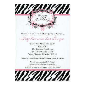 5x7 Butterfly Zebra Print Birthday Part Invitation Invitations
