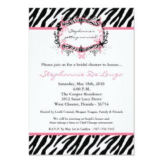 5x7 Butterfly Zebra Print Bridal Shower Invitation Invitation