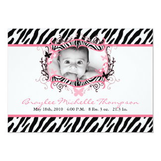 5x7 Butterfly Zebra Print Photo Birth Announcement Personalized Invitation