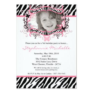 5x7 Butterfly ZebraPrint Photo Birthday Invitation Personalized Invites