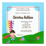 "5x7 Candy Land Ice Cream Baby Shower Invitation 5.25"" Square Invitation Card"