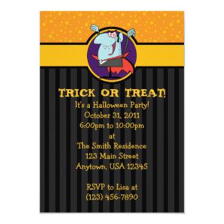 5x7 Cartoon Dracula Halloween Party Invitations