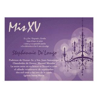 5x7 Chandelier Quinceanera Birthday Invitation