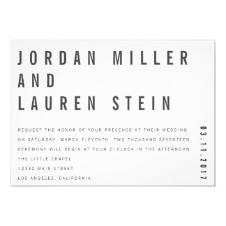 5x7 Charlie Minimalist Wedding Invitation