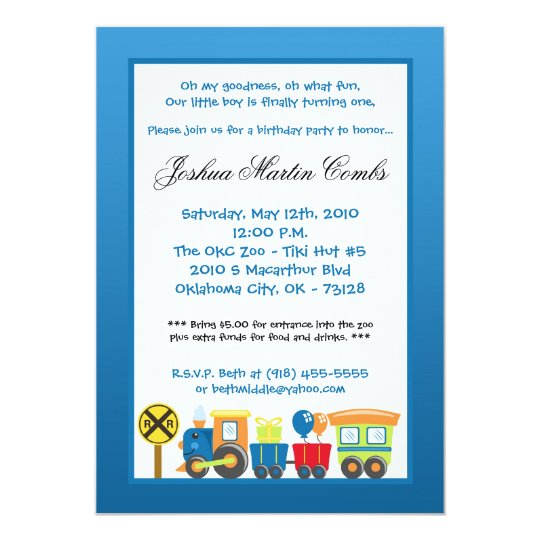 5x7 Choo Choo Train Blue Birthday Party Invitation Zazzlecom