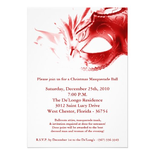 Custom Card Template envelope template for 5×7 card : 5x7 Christmas XMAS Masquerade Ball Mask Invitation 5u0026quot; X 7u0026quot; Invitation ...
