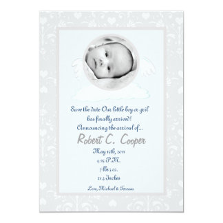 5x7 Circle with Wings PHOTO Birth Announcement