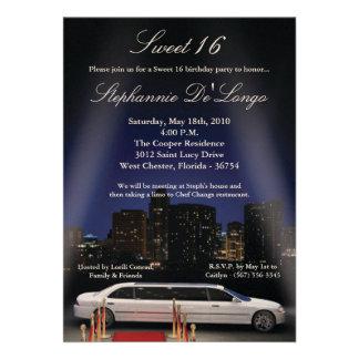 5x7 City Lights Limo Sweet 16 Birthday Invitation