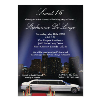 5x7 City Lights Limo Sweet 16 Birthday Invitation