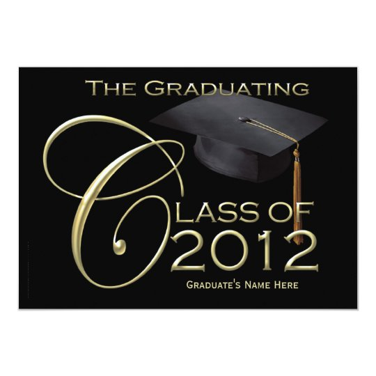 5x7 Class of 2012 Black Graduation Announcement