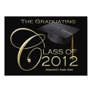 5x7 Class of 2012 Black Graduation Announcement