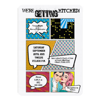 5x7 Comic Strip Book Pop Art Co Wedding Invitation