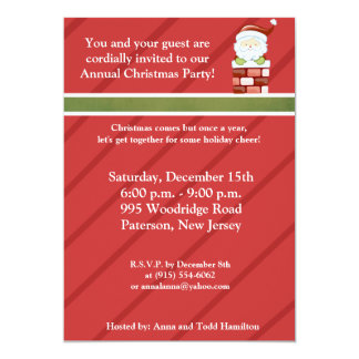 5x7 Coming Down the Chimney Invitation