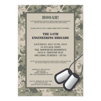 5x7 Coming Home Invitation ARMY Camo ACU Print