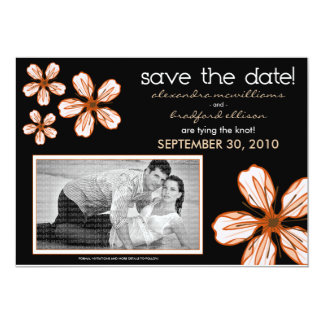 5x7 Coral Cherry Blossom Save/Date Announcement