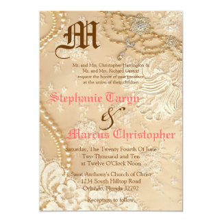 5x7 Country Lace Victorian Vint Wedding Invitation Personalized Announcement