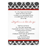 5x7 Crimson Red Damask Quinceanera Invitation