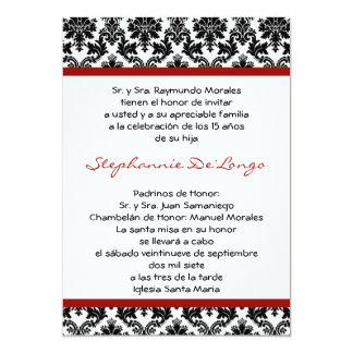 5x7 Crimson Red Damask Quinceanera Invitation